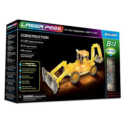 Laser Pegs Construction 8-in-1 Building Set; The First Lighted Construction Toy to Ignite Your Child's Creativity; It's Your Imagination, Light It Up (Light Up Building Construction Set Laser Pegs)
