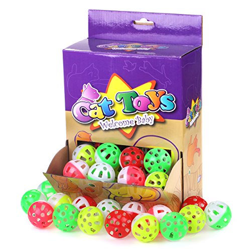 Amazon.com : Chiwava 48PCS 1.6 Plastic Cat Kitten JINGLE BALLS Crazies Cat Toy with Jingling Bell Paw Ball Chase Toy Assorted Color : Pet Supplies