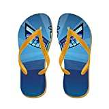 Truly Teague Men's Contemporary Abstract Stained Glass Angel Orange Rubber Flip Flops Sandals 8-10