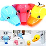 Image of Findfly 3Pcs Cartoon Faucet Extender Sink Handle Extender for Toddler, Baby, Children Safe and Fun Hand-washing Solution (Set of 3, Yellow Duck, Pink Elephant, Blue Dolphin)