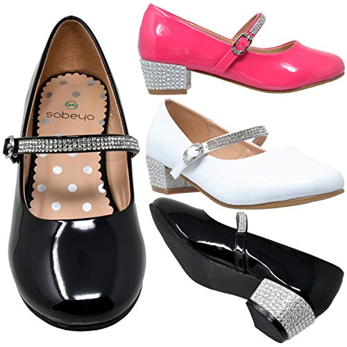 Dress Heel Kids SBO Rhinestone 48 Jane Mary SOBEYO Girls MARY Low Strap Fuchsia Pumps Shoes wqCPY