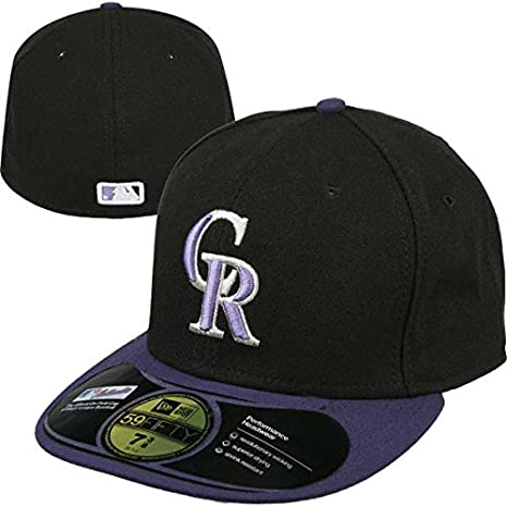 watch e0bd1 da36e New Era Men s Authentic Collection 59Fifty - Colorado Rockies Black Hat 6  ...