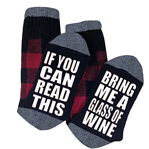 Womens Christmas Fun Socks If You Can Read This Bring Me a Glass Of Wine Socks