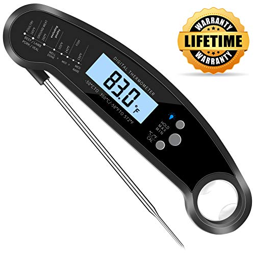 (CUGear Instant Read Meat Thermometer, Waterproof Ultra-Fast Thermometer with Backlight & Calibration, Digital Food Thermometer for Kitchen, Cooking, Outdoor BBQ, Grilling, Smoker, Baking (Black))