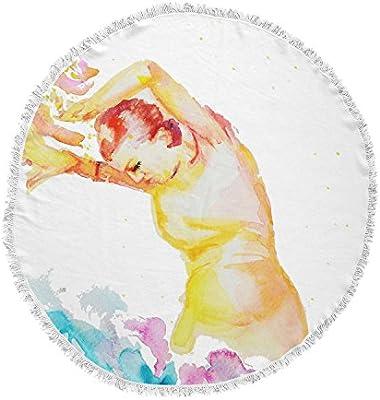 Kess InHouse Cecibd Espana I Multicolor People Round Beach Towel Blanket