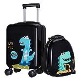 "18"" Kid Dinosaur Luggage, Hard Shell Travel Suitcase for Boy Toddler Child"