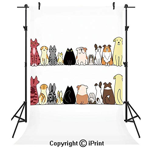 (Kids Photography Backdrops,Cats and Dogs Collie Calico Labrador Scottish Shorthair Tabby Shih Tzu Pet Lovers Art Print Decorative,Birthday Party Seamless Photo Studio Booth Background Banner 6x9ft,)