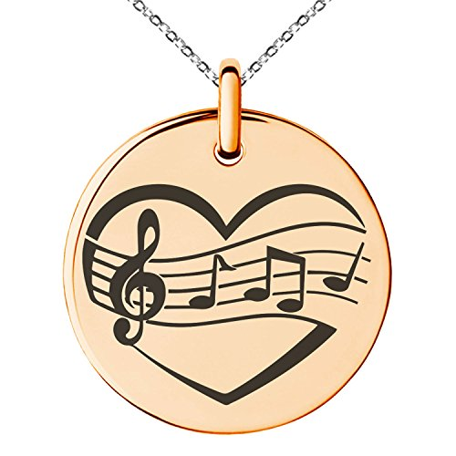 Heart Medallion Necklace (Rose Gold Plated Stainless Steel Musical Love Note Heart Engraved Small Medallion Circle Charm Pendant Necklace)