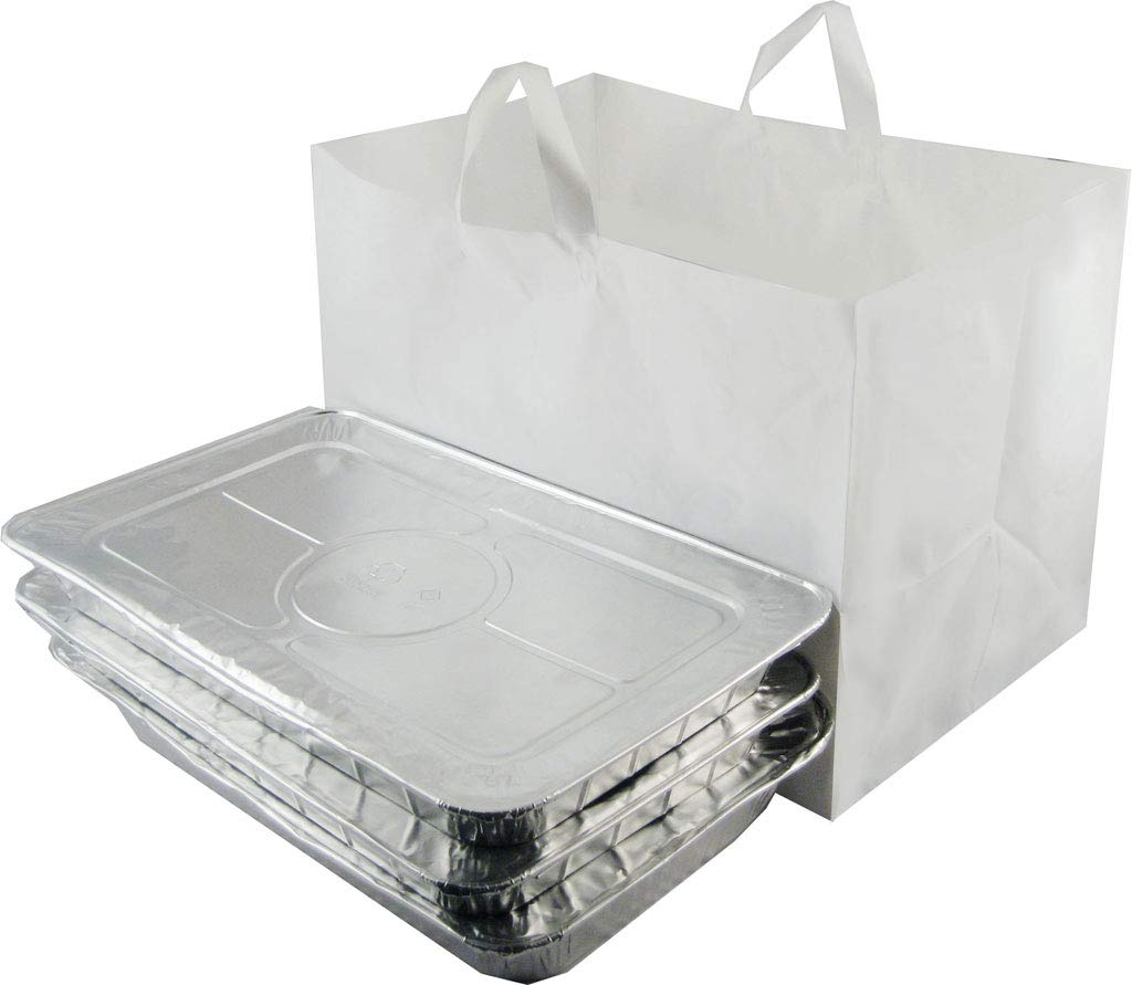 ZT Packaging Take Out Bag 22 x 14 x 15.25 x 14; 100Pcs Full Tray Catering Bags Cardboard Bottom Soft Loop Handles White Plastic Shopping Bag