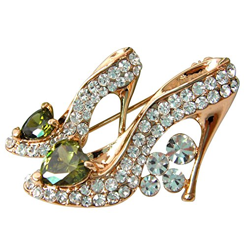 Navachi 18k Gold Plated Green Cubic Zicon Austrian Crystal Shoes Az7004b Brooch - 18k Brooch Emerald