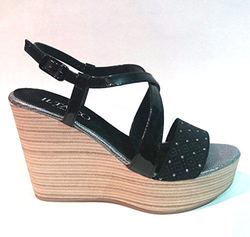 IL TACCO sandalia cuña negra de CRESSY