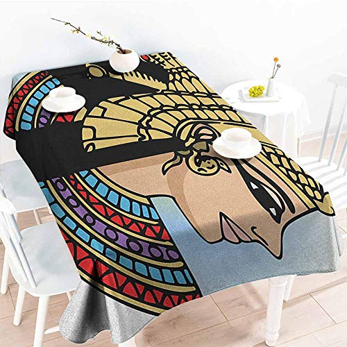 familytaste Egyptian,Modern Waterproof Table Clothes Profile Portrait of Queen Cleopatra Ancient Cultures Civilization Antique Artwork 50