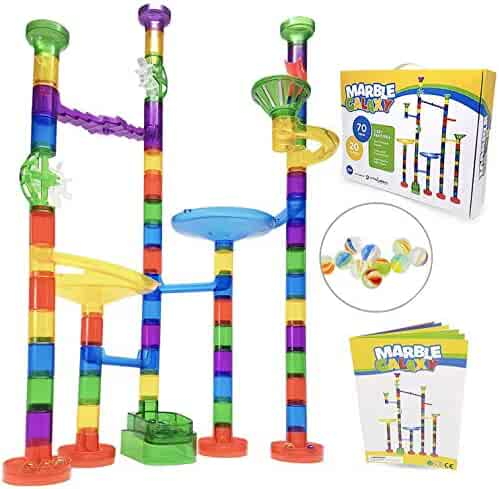 Marble Run Sets for Kids - Marble Galaxy Fun Run Set Game - Translucent Marble Maze Race Track Discovery Toys - Educational STEM Toy Building Construction Games - 90 Marbulous Pcs & Glass Marbles