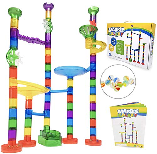 Marble Run Track Toy Set - Translucent Marble Maze Race Game Set By Marble Galaxy - Fun Educational STEM Building Construction Toys For Kids - 90 Sturdy Colorful Marbulous Pcs & Glass Marbles (Game Kids Marble)