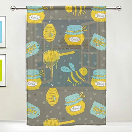 - Funny Bumblebee Honey 84 Inch Sheer Curtains Window Voile Panels for Bedroom & Kitchen