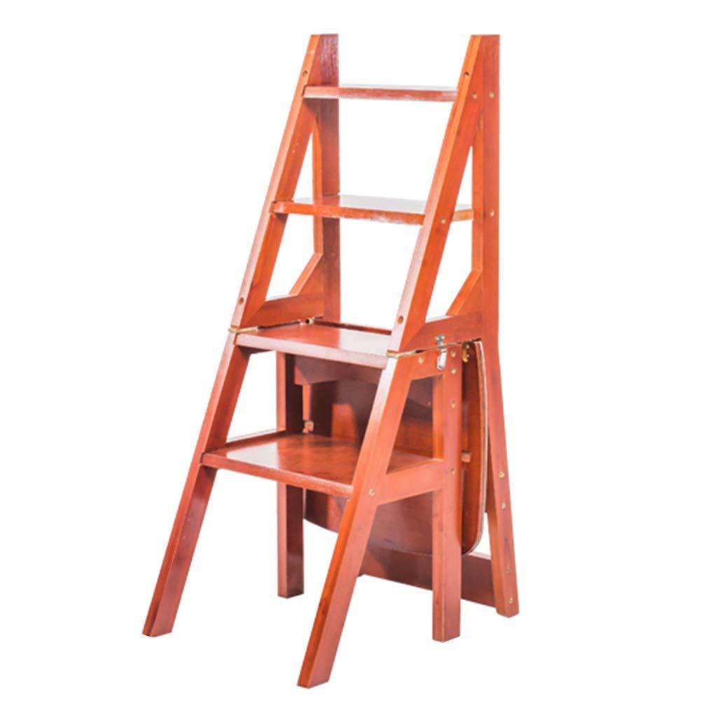 nueva gama alta exclusiva Ed166-l1 QQXX Silla Silla Silla Plegable Bambú Madera Maciza Plegable de Doble Uso Ensamblaje Escalera de Estante Seguridad 4 escalones, 4 Colors de Doble Uso (Color  D, Tamaño  Madera Maciza) Bamboo  envío gratuito a nivel mundial