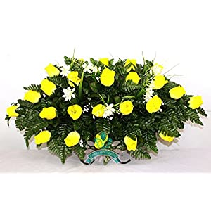 Beautiful XL Yellow Roses Cemetery Tombstone Saddle Arrangement 1
