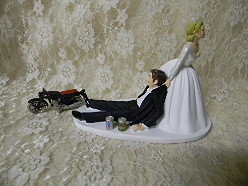 Wedding Bridal Drunk Groom Beer Motorcycle Biker Chick Cake Topper