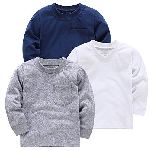 - ALALIMINI Baby Toddler Boy's T-Shirts Long Sleeve 3-Pack Soft Cotton White Navy Gray 2T 3T 4T 5T(3)