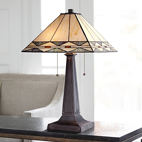 Art Deco Accent Table Lamp Mission Bronze Stained Glass Shade for Living Room Family Bedroom Bedside Office - Robert Louis Tiffany