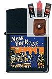 Zippo 7690 New York City Skyline Lighter + Fuel Flint Wick Pouch Gift Set