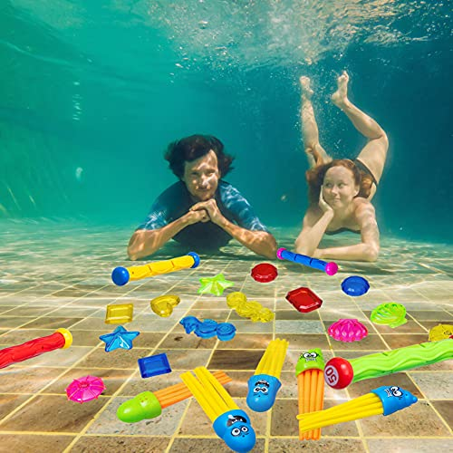Rainbow Kingdom 32 PCS Pool Diving Toys with Underwater Swimming Diving Pool Toy Rings, Diving Sticks, Toypedo Bandits and Many Other Diving Toys for Kids