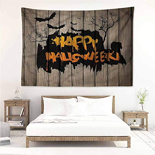 (Sunnyhome Tapestry Hippie,Halloween Quote Bats Art,Stylish Minimalist Fresh)
