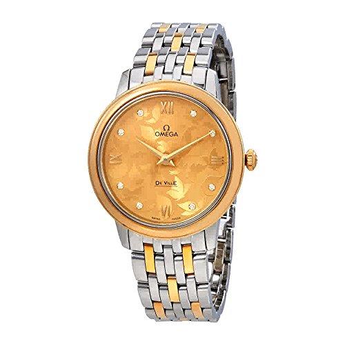OMEGA Women's De Ville Two Tone Steel Bracelet Steel Case Quartz Champagne Dial Watch (Omega Quartz Bracelet)