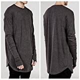 Leijing Swag Style O-Neck Men Casual T Shirt Long Sleeve Thumb Hole Cuffs Side Split Silm Fit Men's Clothing Grey S