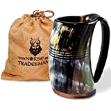 """Norse Tradesman Genuine Viking Drinking Horn Mug - 100% Authentic Beer Horn Tankard w/ Rosewood Bottom and Ring Engravings 