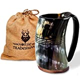 "Norse Tradesman Genuine Viking Drinking Horn Mug - 100% Authentic Beer Horn Tankard w/Rosewood Bottom and Ring Engravings |""The Eternal"", Large"