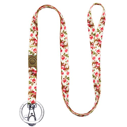 Blueberry Pet Spring Scent Inspired Rose Print Ivory Women Fashion Non Breakaway Lanyard Keychain for Keys/ID Card/Badge Holder, 1/2