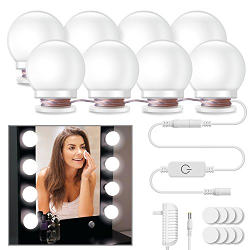 Minger Hollywood Style Vanity Mirror Lights, 8 Dimmable LED Light Bulbs Kit Lighting Fixture Strip for Makeup in Bathroom Dressing Room (Mirror Not Included)