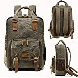 iSkylie Waterproof Waxed Canvas Camera Backpack Bag Rucksack Camera Case 16.53 Laptop Bag (Army Green1, Free Size)
