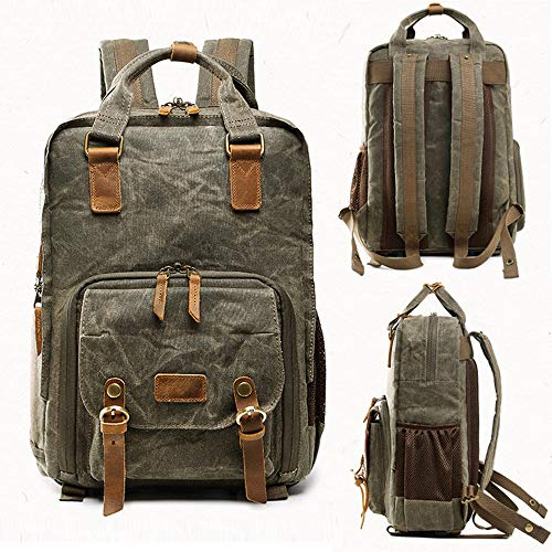 Vintage Photography Backpack Hot Premium Multi-Functional Military Style Canvas Backpack Rucksack,Waterproof Photography Canvas Bag for Camera, Lens and Accessories (Army Green) by Outsta (Image #1)