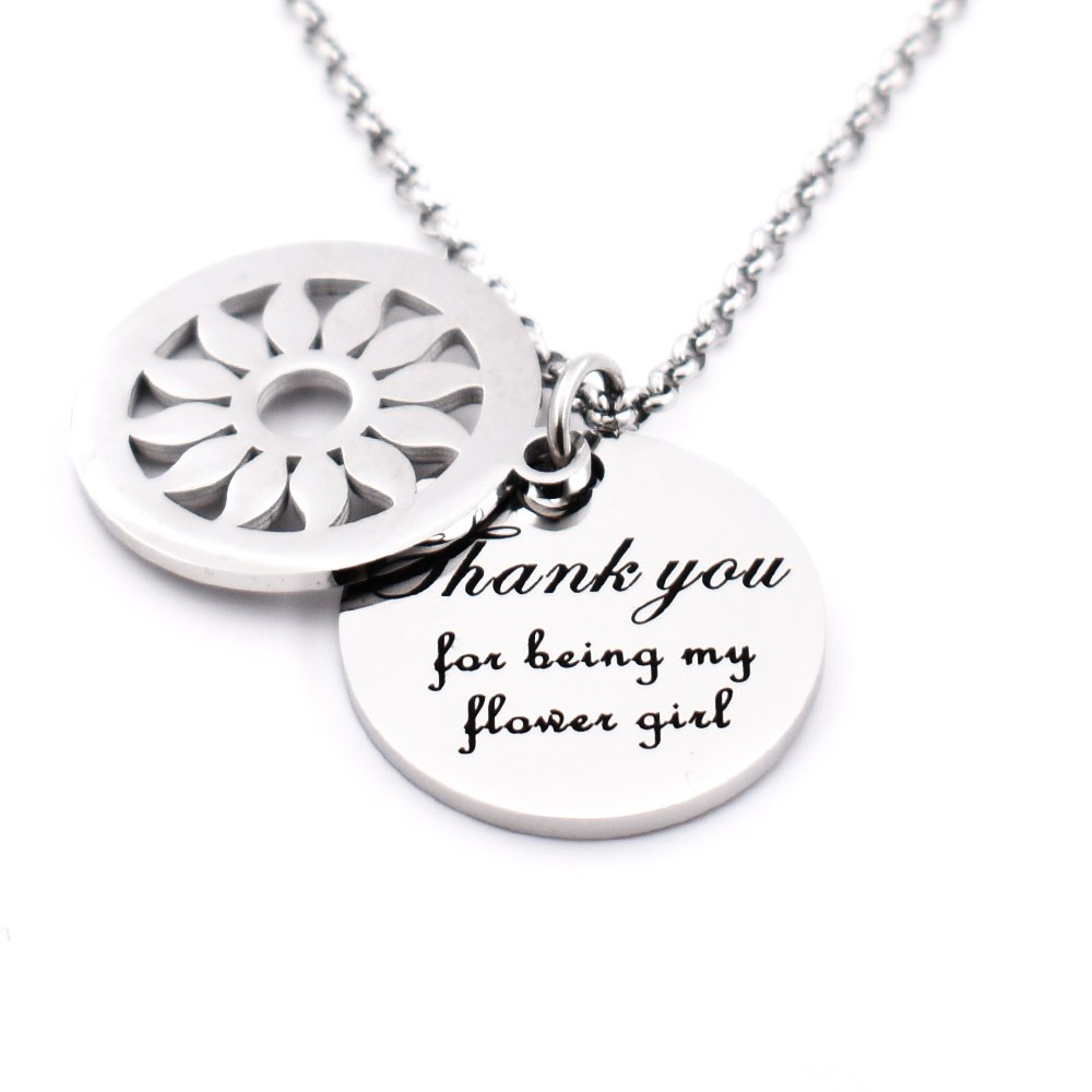 N.egret Thank You My Flower Girl Dad Girl Jewelry Mom &Daughter Necklace Pendant Christmas Gifts for Girl Teen