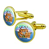 Noah's Ark with Animals Round Cufflink Set Gold Color