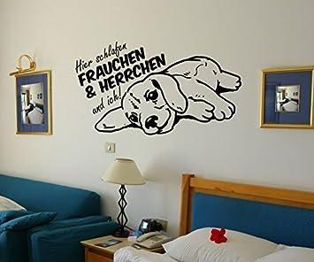 Wandtattoo Hier schlafen Frauchen Herrchen und ich Dog Hund Sprüche ...