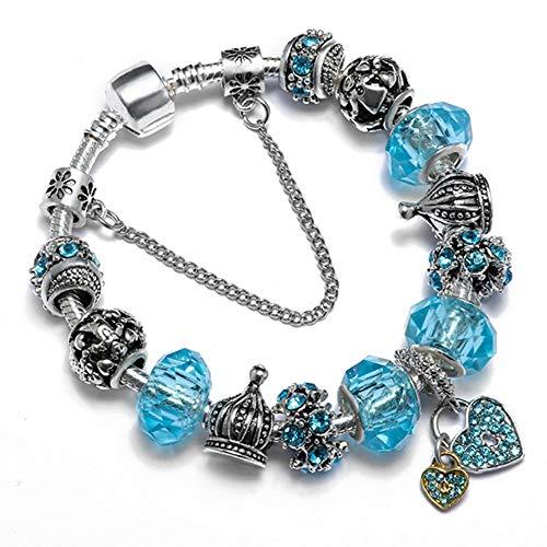 BRIDGOR Glass Beads Charm Bracelet Enameled Heart Silver Plated The World of Love Charm Bracelet European Style Snake Chain Bracelet Gifts for Teen Girls (Light Blue) ()