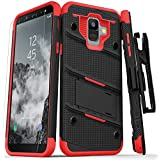 Zizo Bolt Series Compatible with Samsung Galaxy A6 case Military Grade Drop Tested Tempered Glass Screen Protector, Holster, Kickstand Black RED