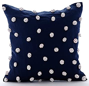 Amazoncom Handmade Navy Blue Throw Pillow Covers Dotted Pom