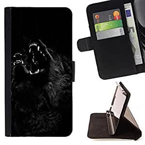 Wolf Werewolf Black Night Howl Dog - Painting Art Smile Face Style Design PU Leather Flip Stand Case Cover FOR Samsung Galaxy S5 Mini, SM-G800 @ The Smurfs