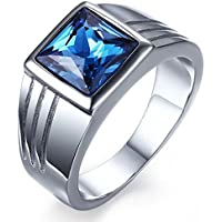 Mens Blue Sapphire White Gold Filled Engagement Ring Size 7 8 9 10 Rings Jewelry (7)