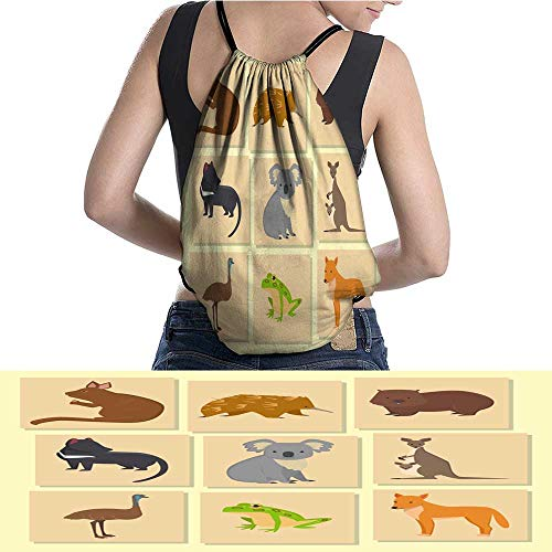 Lightweight Knapsack Australia wild animals card cartoon popular nature W11.8