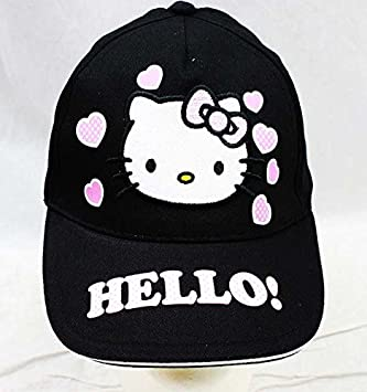 Baseball Cap - Hello Kitty - Pink Heart Black Hat Kid Girls New HEK3938B   Amazon.co.uk  Toys   Games ade106e742c6