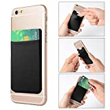 XCSOURCE 2pcs Elastic Lycra Cell Phone Wallet Case Credit ID Card Holder Pocket Stick On 3M Adhesive (Black) AC418