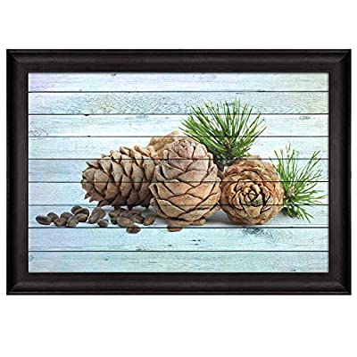 Incredible Composition, Pine Cones and Seeds Over Blue Wood Panels Nature Framed Art, Made to Last