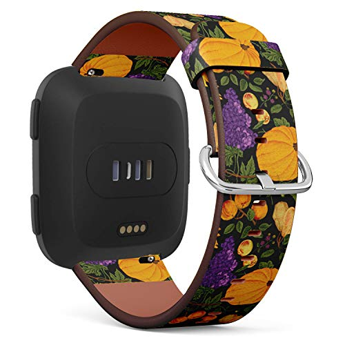 Compatible with Fitbit Versa - Leather Watch Wrist Band Strap Bracelet with Quick-Release Pins (Autumn Harvest Pumpkin Nuts Fruit)