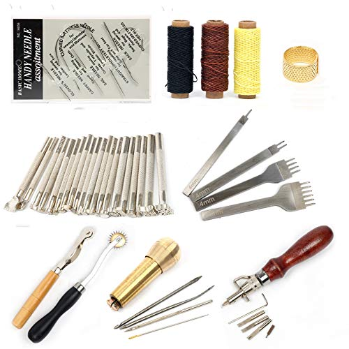 Leather Sewing Tools 48Pcs Leather Craft DIY Hand Kit for Sewing Stitching Thread Punch Carving Sewing Saddle Groover Work