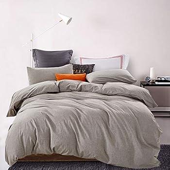 ATsense Duvet Cover Queen, 100% Washed Cotton, 3-Piece Bedding Duvet Cover Set, Simple Style Farmhouse Bedding Set with Zipper Closure&Corner Ties (Grey 7063)